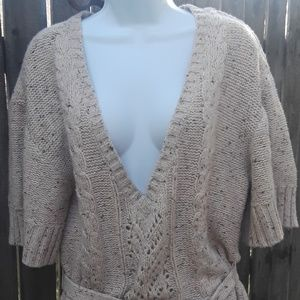 ANA Xl Cableknit Belted Oversized Oatmeal Sweater